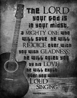 Zephaniah 3:17 The Lord Your God (Guitar Black & White) Fine-Art Print