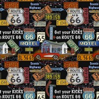Route 66 -  Black I Fine-Art Print