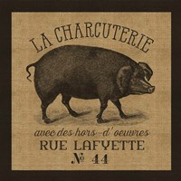French Pig Burlap Fine-Art Print