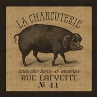 French Pig Burlap Fine-Art Print