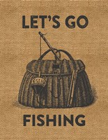 Go Fishing Burlap Fine-Art Print