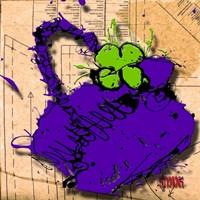 Flower Purse Green On Purple Fine-Art Print