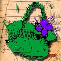 Flower Purse Purple On Green Fine-Art Print