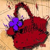 Flower Purse Purple On Red Fine-Art Print