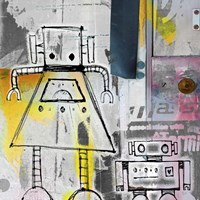 Mum And Son Robots Fine-Art Print