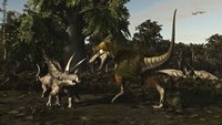Bistahieversor Attacking a Pair of Pentaceratops Fine-Art Print