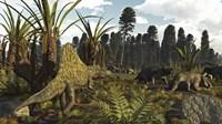 A Triassic Scene With The Sailback Arizonasaurus And Some Dicynodonts Fine-Art Print