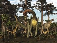 Jobaria Dinosaur Is Menaced By Afrovenators In Jurassic North Africa Fine-Art Print