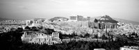 High angle view of buildings in a city, Acropolis, Athens, Greece BW Fine-Art Print