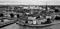 High angle view of a city, Stockholm, Sweden BW Fine-Art Print