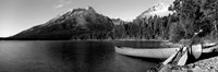 Canoe in lake in front of mountains, Leigh Lake, Rockchuck Peak, Teton Range, Wyoming Fine-Art Print