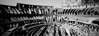 High angle view of tourists in an amphitheater, Colosseum, Rome, Italy BW Fine-Art Print