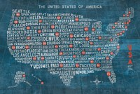 US City Map on Wood Blue Fine-Art Print