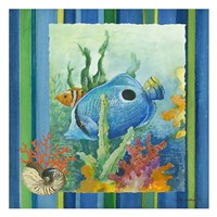 Tropical Fish IV (striped background) Fine-Art Print