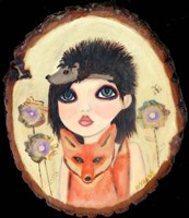 Big Eyed Girl Fox & Hedgehog Fine-Art Print