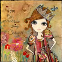 Big Eyed Girl I Am The Queen (With Words) Fine-Art Print