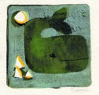 Green Whale Monoprint Fine-Art Print