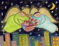 Two Big Diva Angels With Our Flag Fine-Art Print