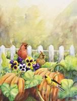 Cardinals in Pumpkin Patch Fine-Art Print