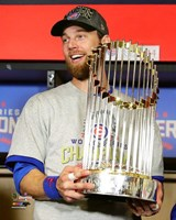 Ben Zobrist with the World Series Championship Trophy Game 7 of the 2016 World Series Fine-Art Print
