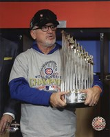 Joe Maddon with the World Series Championship Trophy Game 7 of the 2016 World Series Fine-Art Print