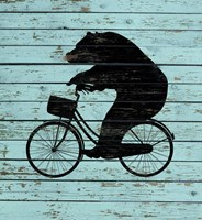 Bear On Bike On Old Board Fine-Art Print
