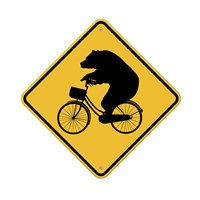 Bears On Bikes Crossing Sign Fine-Art Print