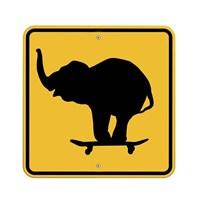 Elephant On Skateboard Crossing Sign Fine-Art Print