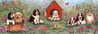 Puppies And Doghouse Border Fine-Art Print