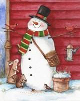 Red Barn Snowman with Friends Fine-Art Print