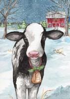 Country Barn Christmas With Wreath Fine-Art Print