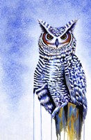 Great Horned Owl In Blue Fine-Art Print
