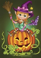 Witch with a Broom on a Pumpkin Fine-Art Print