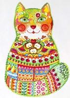 Green Folk Cat 1 Fine-Art Print