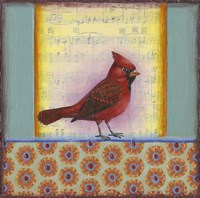 Cardinal on Music Notes 2 Fine-Art Print