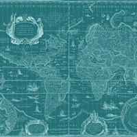 Blueprint World Map, teal Fine-Art Print