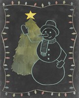 Chalkboard Snowman I Fine-Art Print