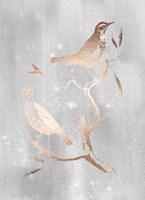Rose Gold Foil Birds I on Grey Wash Fine-Art Print