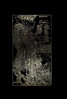 Gold Foil City Map Boston on Black Fine-Art Print