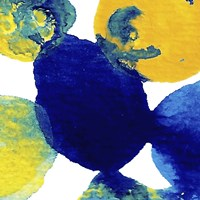 Yellow and Blue Abstract Flowing Paint Fine-Art Print