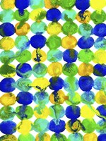 Blue Yellow Green Abstract Flowing Paint Pattern Fine-Art Print