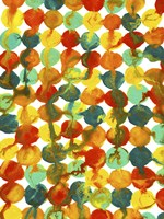 Teal Yellow Red Orange Abstract Flowing Paint Pattern Fine-Art Print