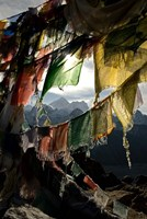 Prayer flags on Summit of Gokyo Ri, Everest region, Mt Everest, Nepal Fine-Art Print