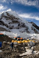 Tents Scattered along Khumbu Glacier,  Mt Everest, Nepal Fine-Art Print