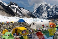 Tents of Mountaineers Scattered along Khumbu Glacier, Base Camp, Mt Everest Fine-Art Print