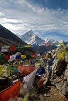 Prayer flags, Everest Base Camp Trail, peak of Ama Dablam, Nepal Fine-Art Print