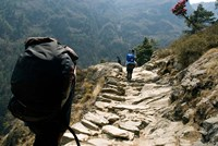 Trekkers on the trail towards Namche Bazaar, Khumbu, Nepal Fine-Art Print