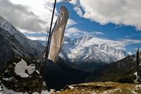 Prayer flags on ridge above Dole, peak of Ama Dablam, Nepa, Fine-Art Print