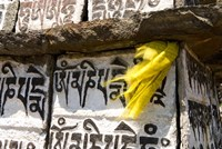 Prayer flag and Mani Stones, Buddhist Mantras, Khumbu, Nepal Fine-Art Print