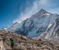 Trekkers and porters on a trail, Khumbu Valley, Nepal Fine-Art Print